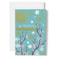 Carte Double Anniversaire Branches d'arbre fleuries dessinées sur fond vert