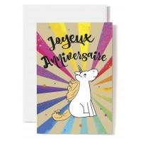 Carte Double Anniversaire Licorne dessinée, explosion multicolore