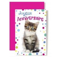 Carte Double Anniversaire Chat tigré et cotillons multicolores