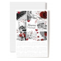 Carte Double Mariage Composition photos : piano, rose rouge, alliances...