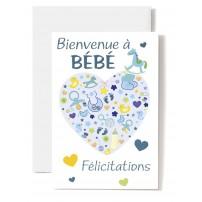 Carte Double Naissance Cœur composé d'accessoires de bébé sur fond bleu