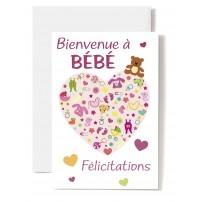 Carte Double Naissance Cœur composé d'accessoires de bébé sur fond rose