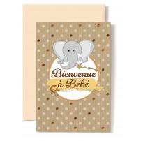 Carte Double Naissance Eléphant et tétine