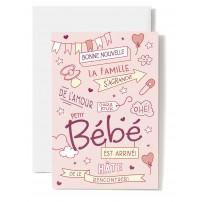 Carte Double Naissance Tétine, cœur, épingle à nourrice sur fond rose