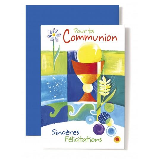 Carte double Communion : Dessin de coupe et d'épi de blé