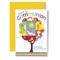 Carte Double Communion Arbre composé d'images et de symboles