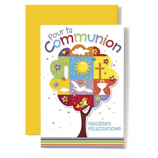 Carte double Communion : Arbre composé d'images et de symboles