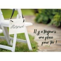 """Carte Avec Message Chaise dans un jardin avec un paneau """"Réservé"""""""