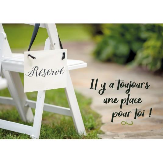"""Carte Avec Message Chaise dans un jardin avec paneau """"Réservé"""""""