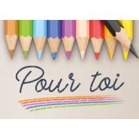 Mini Carte Crayons de couleur sur une feuille