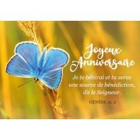 Mini Carte Papillon bleu sur fond jaune