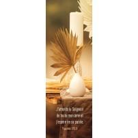 Signet Feuille de palme et bougie sur une table