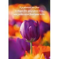 Carte Avec Message Tulipe violette dans un champ de fleurs