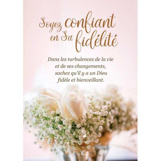Carte Avec Message Bouquet de roses et gypsophile blanches