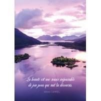 Carte Citation Iles et montagnes sur un lac au lever du soleil