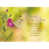 Carte Avec Verset Papillon jaune sur une fleur violette