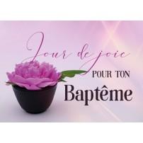 Mini Carte Pivoine rose dans un mini vase