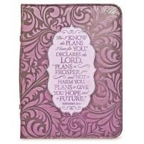 Housse Bible violet gravée large, Jérémie 29 v 11 17,8x25,4x5 cm