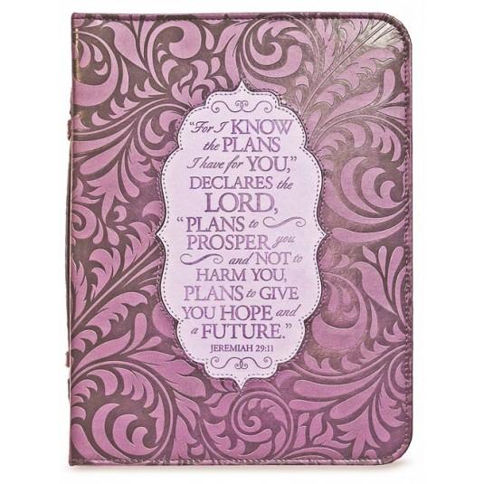 Housse Bible violet gravée large, Jérém. 29v11 17, 8x25, 4x5 cm