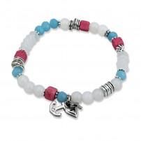 "Bracelet perles ""Foi, Amour, Espoir"" blanc, bleu et fuschia"