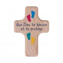Mini-croix en bois empreintes pieds