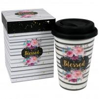 """Tasse gobelet avec couvercle """"Blessed"""""""