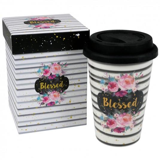 Tasse gobelet avec couvercle Blessed