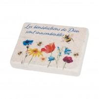 Magnet en pierre avec motif floral