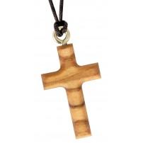 Collier croix bois d'olivier 3.5cm
