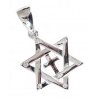 Pendentif étoile de David + croix en argent