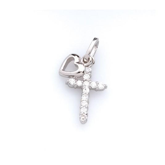 Pendentif croix et coeur argent zirconium sur croix 1x1.5 cm