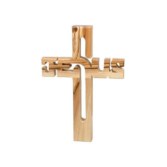 Croix JESUS en bois d'olivier 10.5x15cm