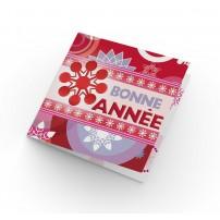 Carte Double Carre Fin D'annee Frise Bonne Année, flocons