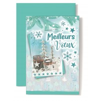 Carte double Meilleurs Vœux Bougeoirs, boule, sapins, étoiles, fond vert
