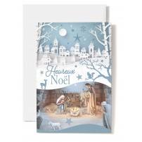 Carte double Heureux Noël Crèche sur fond de village