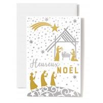Carte double Heureux Noël Crèche, mages