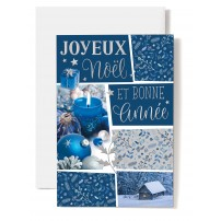 Carte Double Fin D'annee JN-BA Bougie et boules bleues