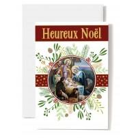 Carte double Heureux Noël Crèche dans cercle